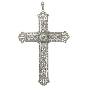 Art Deco Edwardian vintage diamond cross platinum and 18K white gold