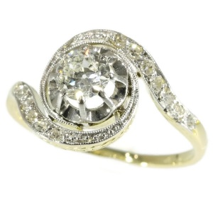 Belle Epoque twirled diamond engagement ring so-called tourbillon model