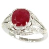 French Art Deco diamond engagement ring with big Burmese ruby