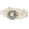 Antique 5-string pearl bracelet with rose cut diamond closure and real big pearl