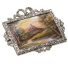 Precious French Belle Epoque diamond brooche with magnificent enameled scenery