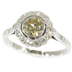 Fifties diamond engagement ring - white gold - champagne colored brilliant