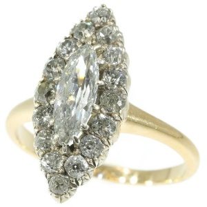 Antique ring Late Victorian diamond engagement ring marquise boat shaped diamond