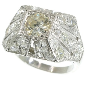 Sparkling Art Deco 3.78 crt diamond cocktail engagement ring