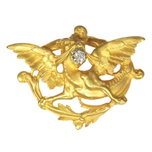Griffing brooch Late Victorian Early Art Nouveau gold with diamond