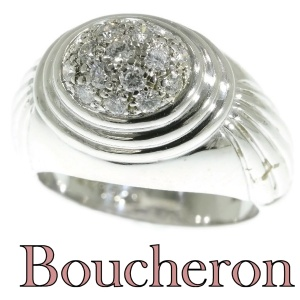 Signed Boucheron diamond cluster cocktail white gold ring