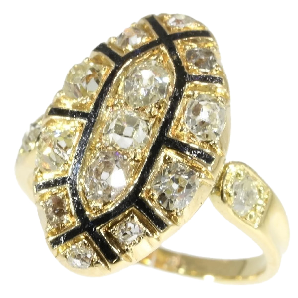 Mid 18th Century Antique Baroque Rococo Ring With Old Mine