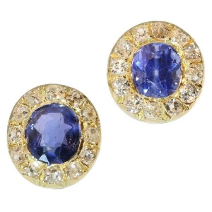 Antique Victorian earstuds diamonds and sapphires