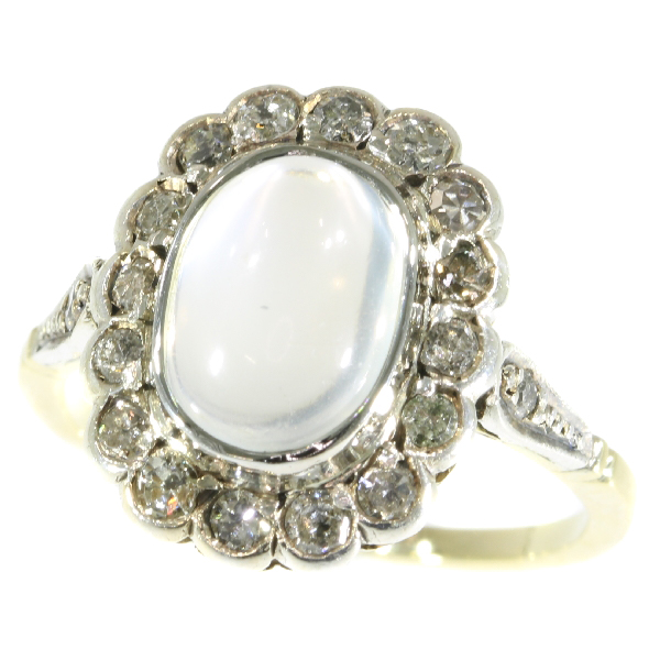 Estate diamond and blue moonstone ring