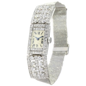 Classy Diamond Loaded Platinum Art Deco Ladies Wrist Watch 5.60 crt diamonds