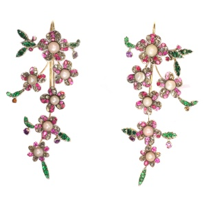 Extravagant long pendent earrings from antique parts diamonds, pearls, rubies
