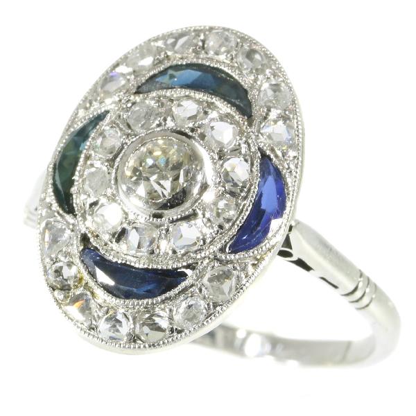 Vintage Art Deco Belle Epoque Diamond And Sapphires Engagement Ring