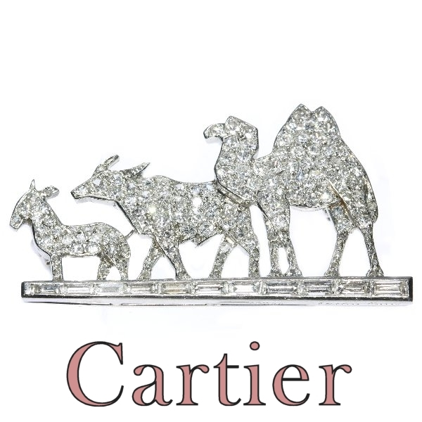 Fairylike Cartier Paris Art Deco diamond brooch with donkey buffalo and camel