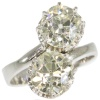 Stunning huge diamonds engagement ring 2 cushion cuts 4.28 crt total diam weight
