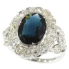 French Art Deco Belle Epoque engagement ring with diamonds and sapphire