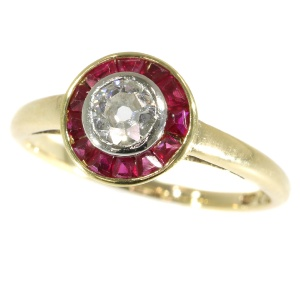 Vintage Art Deco diamond and rubies engagement ring