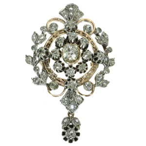 Antique Victorian diamond pendant and brooch loaded with old mine brilliant cuts