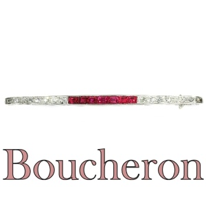 French Art Deco platinum diamond and ruby bar brooch signed Boucheron