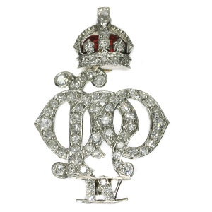Platinum Art Deco diamond set enameled Crest of the 4th Queen s Own Hussars