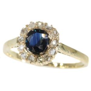 Antique Polish diamond and sapphire engagement ring