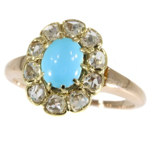 Antique Victorian turquoise and diamonds ring