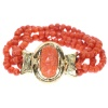 Antique Victorian coral cameo bracelet with faceted coral beads
