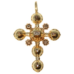 Antique gold cross with table cut rose cut diamonds 18th century
