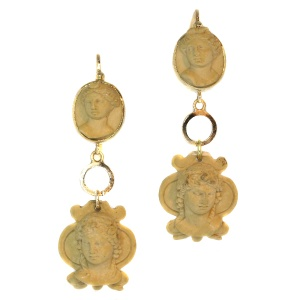 Antique lava stone cut cameo ear pendants