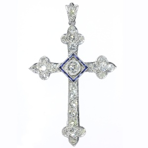 Impressive Art Deco diamond cross with sapphires