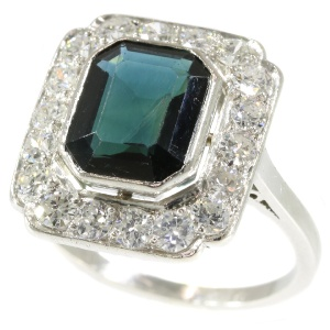 Platinum diamond and sapphire Art Deco style ring made in the Fifties