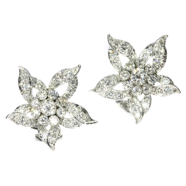 Estate diamond loaded ear clips
