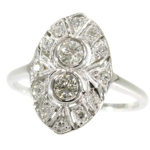 White gold Art Deco engagement ring with diamonds
