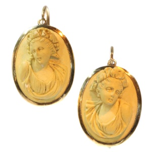 Antique Victorian lava stone cameo earrings set in gold mounting