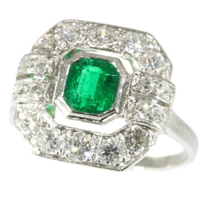 French estate engagement ring platinum diamonds and Brasilian emerald
