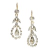 Late Georgian rose cut diamond long pendent earrings