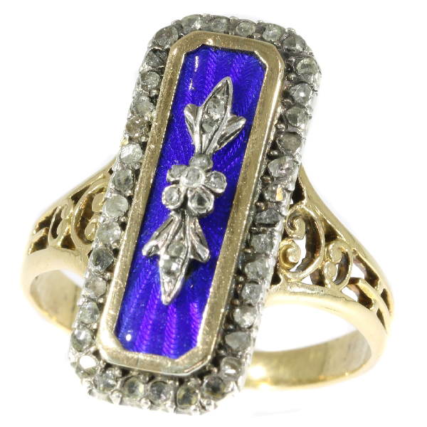 French antique Victorian enameled ring with rose cut diamonds