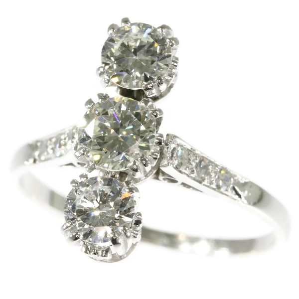 Vintage Fifties platinum three-stone diamond engagement ring