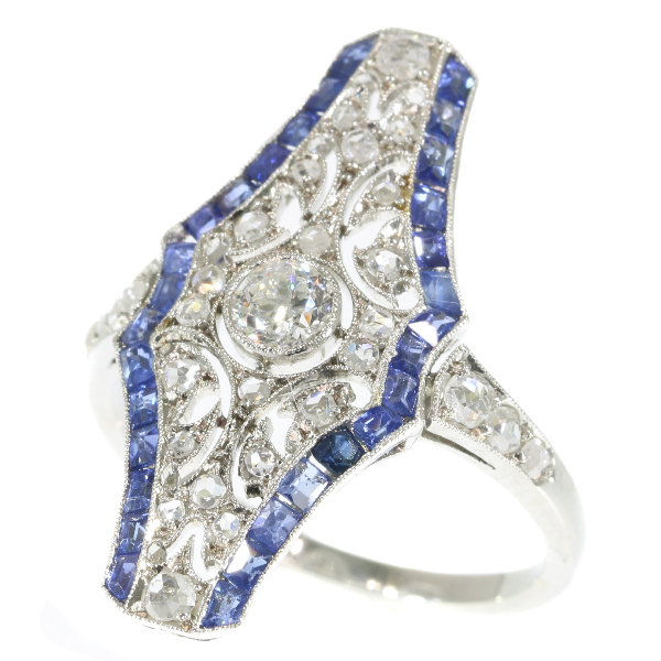 Vintage Art Deco platinum diamond and sapphire engagement ring