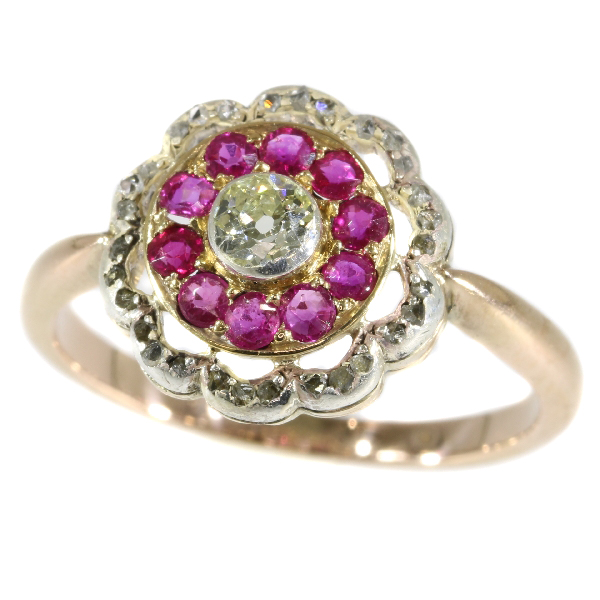 Late Victorian diamond and ruby ring