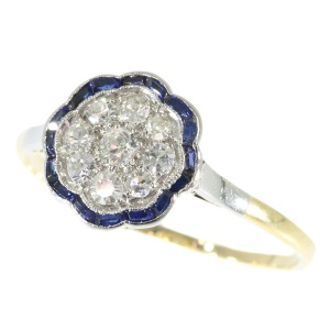 Subtle Vintage Art Deco Diamond And Sapphires Engagement Ring