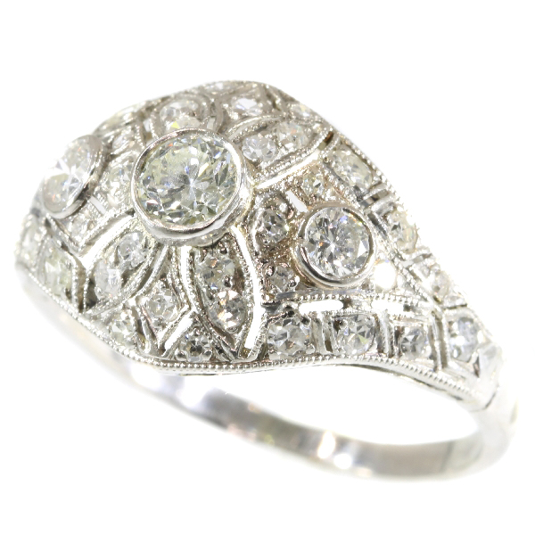 Platinum diamond engagement ring slightly domed