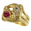 Late Victorian gold double serpent snake ring set with big diamond and ruby