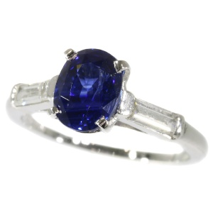 Fifties platinum diamond and sapphire engagement ring - sapphire unheathed