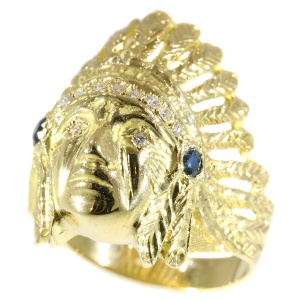 Gold Indian head ring embellished with diamonds and sapphires (ca. 1950)