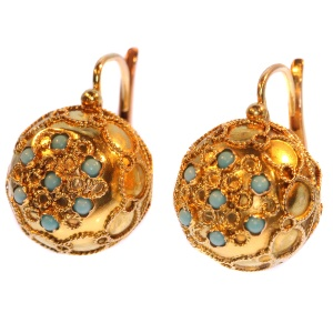 Late Victorian spherical earrings with turquoise cabochons