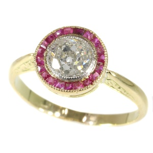 Authentic Art Deco Diamond And Ruby Ring