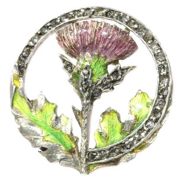 Late Victorian early Art Nouveau enameled thistle brooch with rose cut diamonds