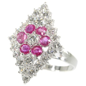 Fifties diamond and ruby cocktail ring - circa 1950