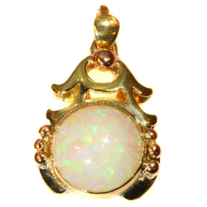 Vintage multi colour gold pendant with cabochon opal Style Japonais