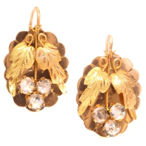 Charming Antique Victorian Gold Earrings Set With Strass